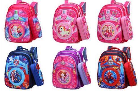 Frozen Pony Avengers Spiderman Primary School Bags Backpack