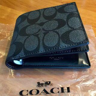 🚚 BN 💯 Authentic Coach Mens wallet in Signature charcoal black leather