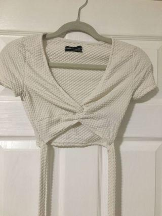UO white wrap around top