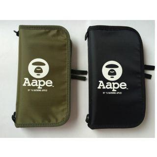 Instock! AAPE by the Bathing Ape BAPE (Black, Khaki Green) Travel Passport / Card Holder Organizer with Sling ASC3191 + FREE Post
