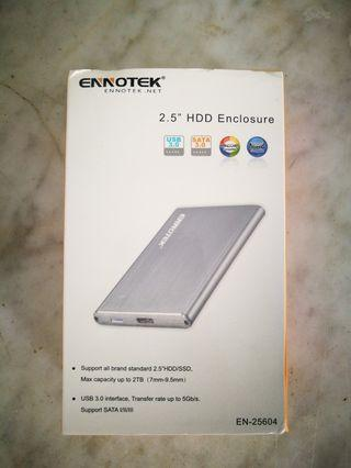 Ennotek Aluminum USB 3.0 Hard Drive Enclosure with UASP for 2.5 Inch SATA SSD/HDD 2TB – Silver