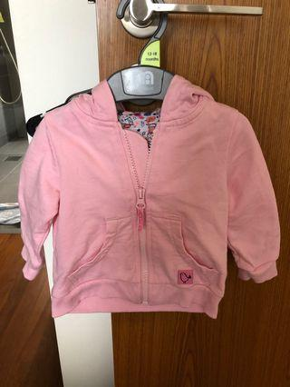 🚚 Mothercare baby girl pink cardigan with hood