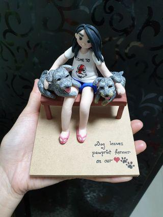 Customise figurine made of polymer clay (human & dogs)