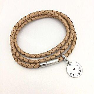 Personalised Disc Charm Leather Bracelets
