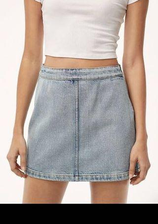 Wilfred Donyale light wash denim mini skirt from Aritzia