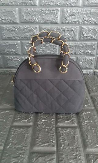 Velvet Handbag grey