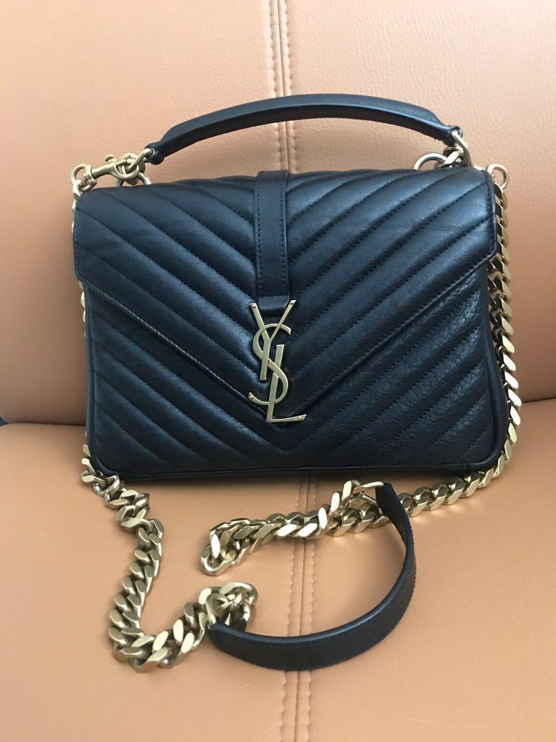 100% Authentic Preloved Saint Laurent College Medium bag with gold hardware.