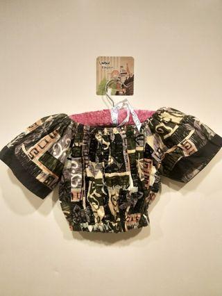 古著-兩件式平口短版上衣+傘裙