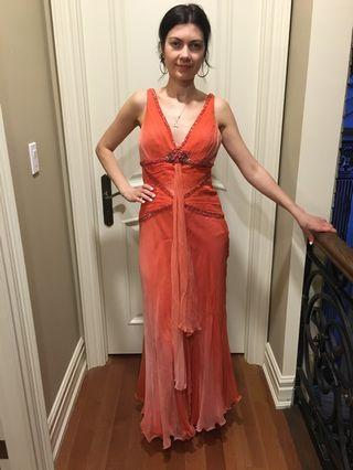 Orange tropical summer dress size small