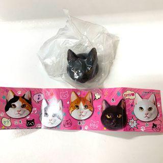 日本 海洋堂 Black Cat 大頭 黑貓 貓頭 立體襟章 扭蛋 包郵