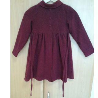 Colourful Royal Maroon Wool Winter Coat for your Little Princess