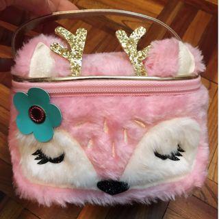 [全新] 粉紅狐貍臉化妝萬用收納包