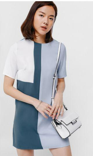 Love Bonito Adarie Colourblock Shift Dress in baby blue