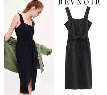 BEVNOIR Pristine Black Midi Dress