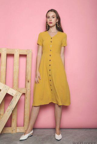 Ryder Buttons Basic Midi Dress Sunshine