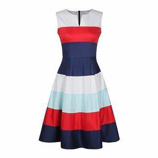 white red blue dress