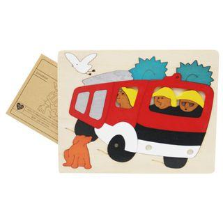 Multi-layer 3D Wooden Jigsaw Puzzle - Fire Truck Fire Engine