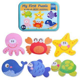 My First Puzzle - 6-In-A-Box Puzzle Game - Ocean Sea Creature Turtle Starfish Octopus Whale Crab