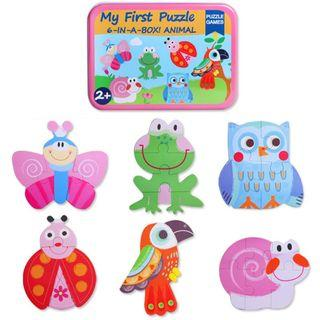My First Puzzle - 6-In-A-Box Puzzle Game - Insect Bird Frog Ladybug Snail Parrot Butterfly Owl
