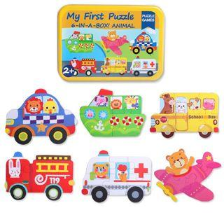 🚚 My First Puzzle - 6-In-A-Box Puzzle Game Taxi Boat Fire Engine Fire Truck Plane Ambulance School Bus Boat