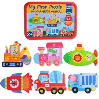 My First Puzzle - 6-In-A-Box Puzzle Game - Rocket Submarine Train Bus