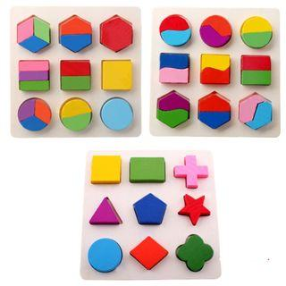 🚚 Wooden Geometric Montessori Puzzle (Set of 3) Shape Colour