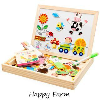 Magnetic Wooden Jigsaw Puzzles With Double Sided Magnetic Drawing Board - Cartoon Forest Farm