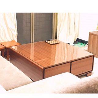 實木茶几 實木桌子 客廳桌 有抽屜 附桌面的玻璃