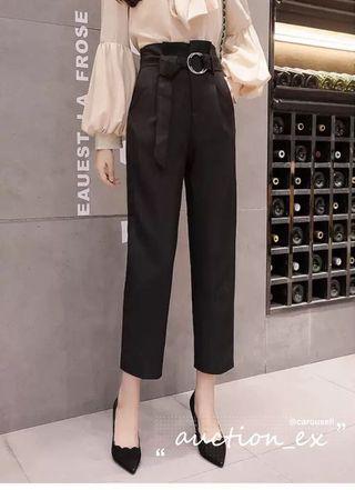 黑色顯瘦高腰西裝褲