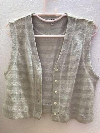 Vest cardigan crop top