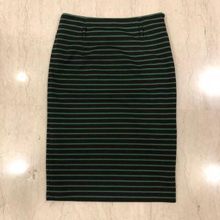 Striped Midi Skirt Work Formal
