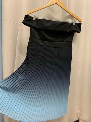 (REDUCED) Off Shoulder Ombré Gradient Black Blue Dress