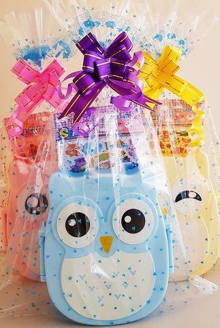 🚚 Children birthday goodie bag, goody bag, owl, lunchbox for kids, stickers