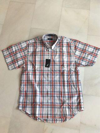 Nautical Men's Short Sleeve Shirt Checks Red/White
