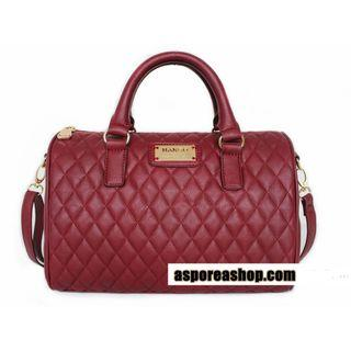 ⚡⏰SALE! MANGO TOUCH (Wine Red) Quilted Style Hand Bag ASC3118 + FREE Post (1)