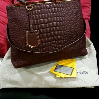 R.P $4980 Fendi 2Jours Embossed Crocs Shopping Tote