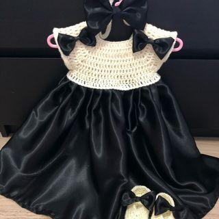 Crochet baby girls dress set
