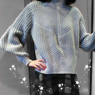 🔄Gray Puffy Sleeve Knitted Jumper