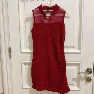 Cavalier Red Dress / Dress Brukat Merah