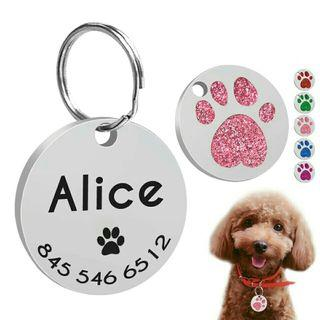 [Pre-Order] Personalized Engraved Cats Dog Tags Customized Round Name Tags
