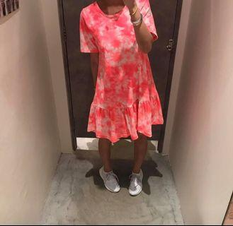 Dip dye Neon pink drop waist dress
