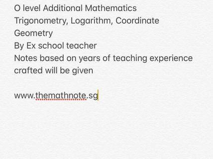 🚚 Additional Mathematics O-level Prep