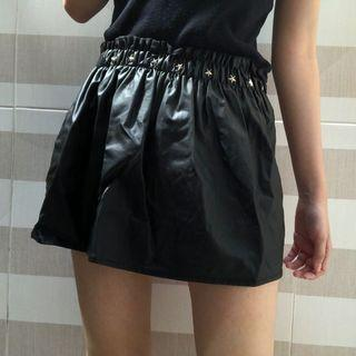 #mauthr Black Leather Skirt