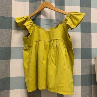 (REDUCED) Bright Mustard Ruffle Sleeveless Top