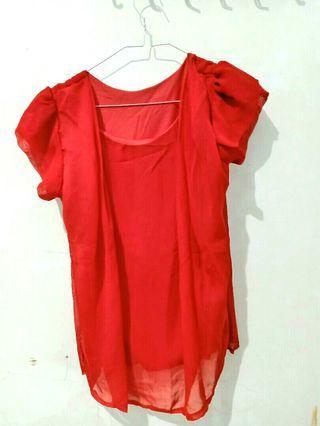 Blouse Merah #ramadanbermanfaat #mauthr