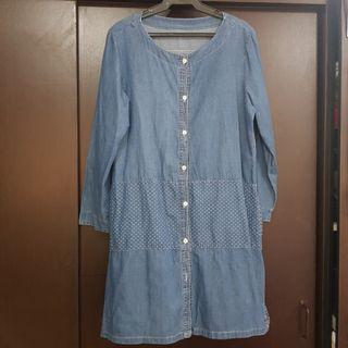 Chambray Button Down Dress with Pockets