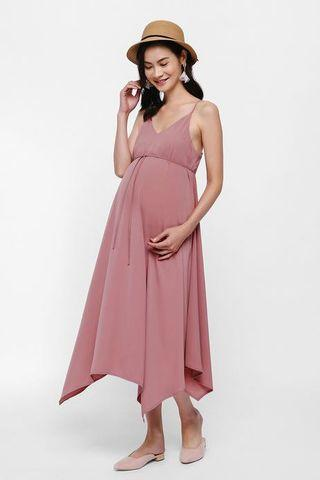 Dianna Kerchief Hem Maxi Dress in Rose