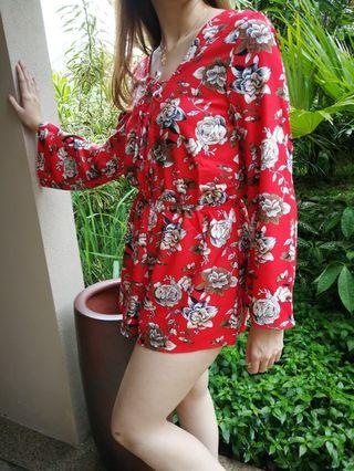 Red flora sexy jumpsuit