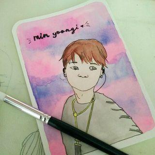 Min Yoongi Watercolor Portrait