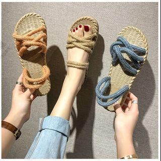 新款時尚交叉帶沙灘涼拖鞋 35-40 (共4色)